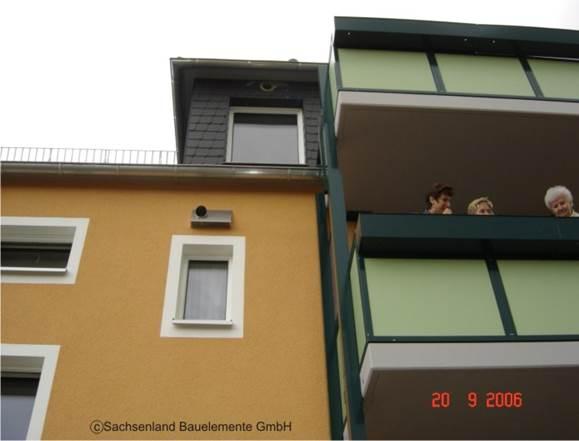 Gebäude mit Außen- und Fortluftelement